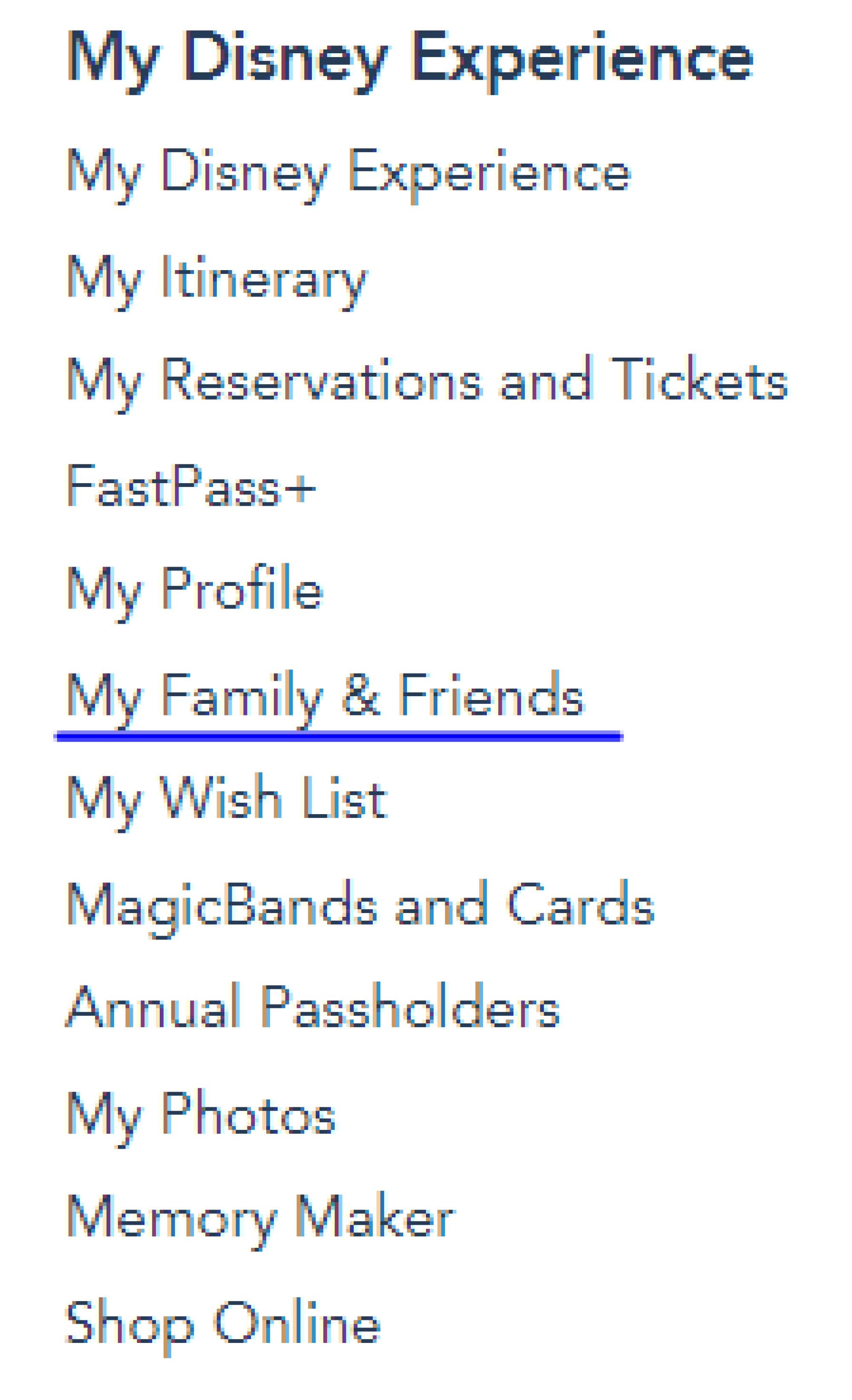 「My Family & Friends」をクリック